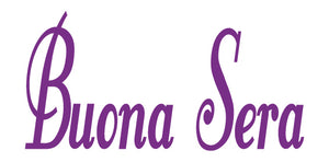 BUONA SERA ITALIAN WORD WALL DECAL IN PURPLE