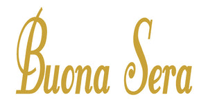 BUONA SERA ITALIAN WORD WALL DECAL IN CARAMEL TAN