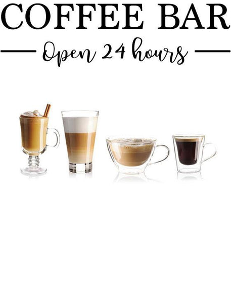 COFFEE BAR OPEN 24 HOURS WALL STICKERS