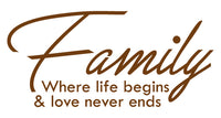 FAMILY WHERE LIFE BEGINS WALL DECAL IN BROWN