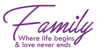 FAMILY WHERE LIFE BEGINS WALL DECAL IN PURPLE