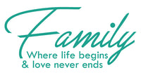 FAMILY WHERE LIFE BEGINS WALL DECAL IN TURQUOISE