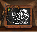 FISHING LODGE CABIN LAKE HOUSE WALL DECAL