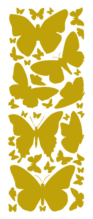 SATIN GOLD BUTTERFLY WALL DECALS
