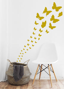 SATIN GOLD BUTTERFLY WALL