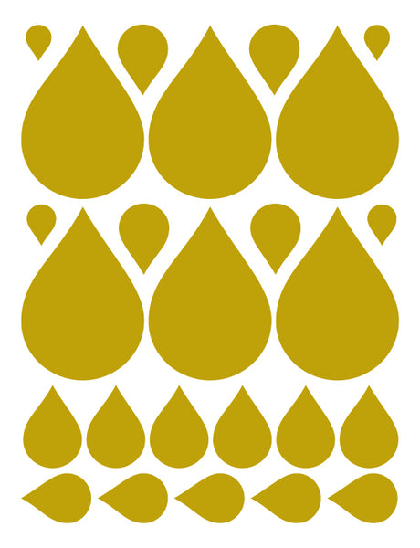 GOLD RAINDROP WALL DECALS