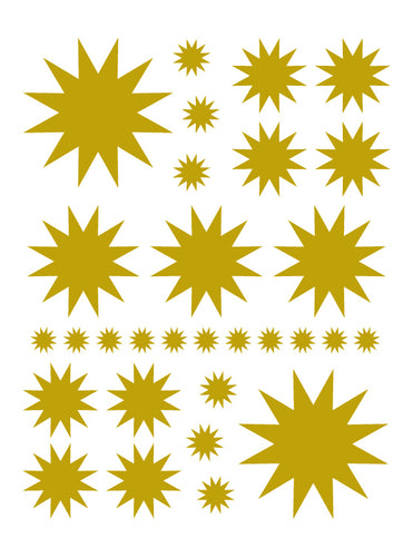 SATIN GOLD STARBURST WALL DECALS