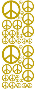 GOLD PEACE SIGN DECAL