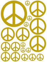 GOLD PEACE SIGN WALL DECAL