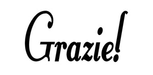 GRAZIE ITALIAN WORD WALL DECAL IN BLACK