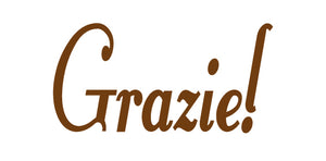 GRAZIE ITALIAN WORD WALL DECAL IN BROWN