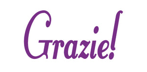 GRAZIE ITALIAN WORD WALL DECAL IN PURPLE