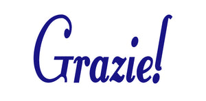GRAZIE ITALIAN WORD WALL DECAL IN ROYAL BLUE