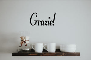 GRAZIE ITALIAN WORD WALL DECAL
