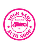CUSTOM AUTO SHOP WALL DECAL IN HOT PINK