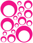 HOT PINK BUBBLE WALL DECALS
