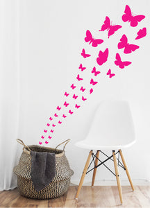 HOT PINK BUTTERFLY WALL STICKERS