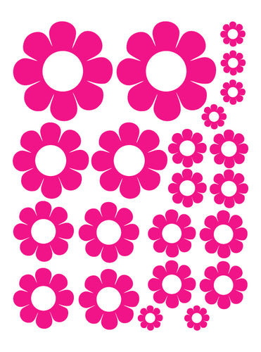 HOT PINK DAISY WALL DECALS