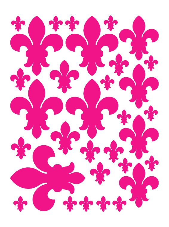 HOT PINK FLEUR DE LIS WALL DECALS
