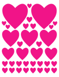 HOT PINK HEART WALL DECALS