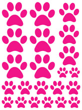 Load image into Gallery viewer, HOT PINK PAW PRINT WALL DECALS