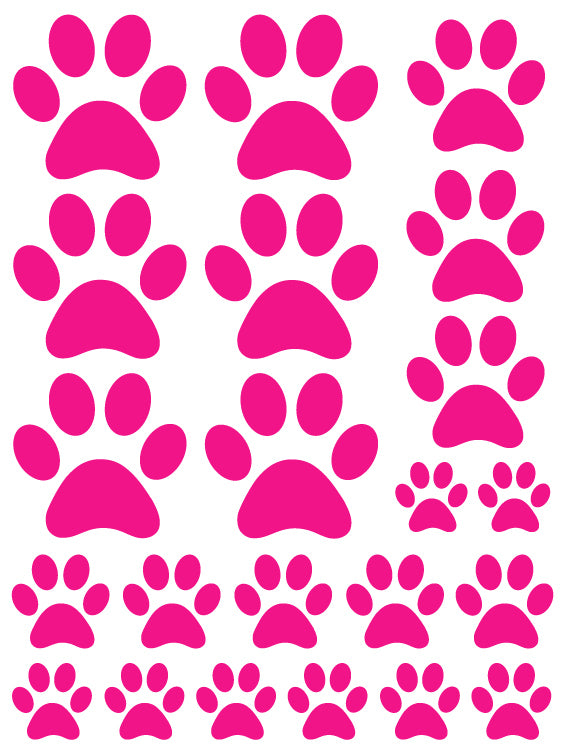 HOT PINK PAW PRINT WALL DECALS