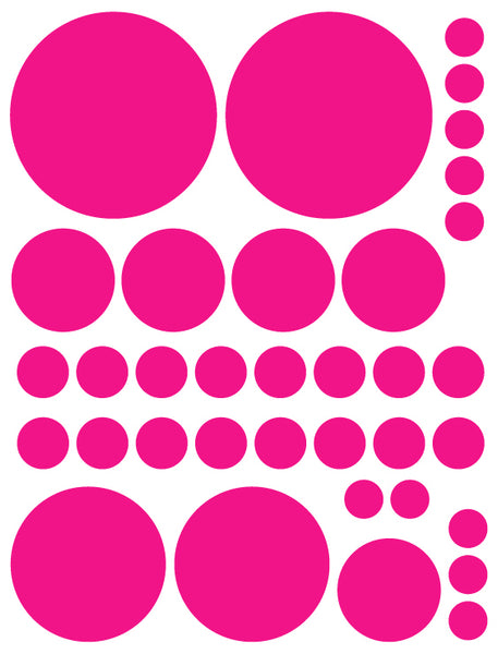 HOT PINK POLKA DOT WALL DECALS