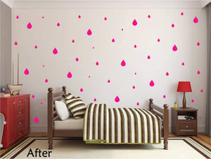 HOT PINK RAINDROP WALL GRAPHICS