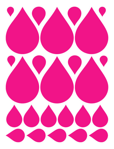 HOT PINK RAINDROP WALL DECALS
