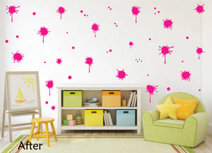 HOT PINK PAINT SPLATTER WALL STICKER
