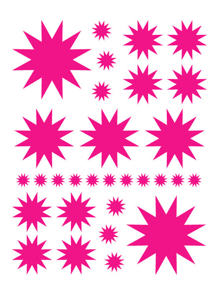 HOT PINK STARBURST WALL DECALS