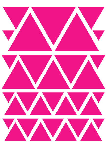 HOT PINK TRIANGLE WALL DECALS