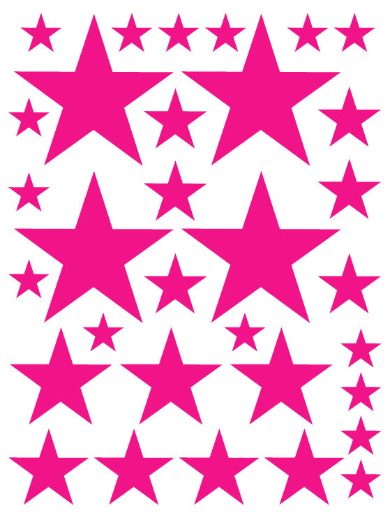 HOT PINK STAR WALL DECALS