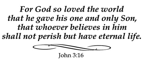 JOHN 3:16 RELIGIOUS WALL DECAL IN BLACK