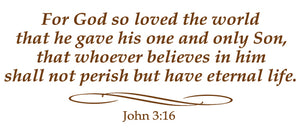 JOHN 3:16 RELIGIOUS WALL DECAL IN BROWN
