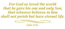 Load image into Gallery viewer, JOHN 3:16 RELIGIOUS WALL DECAL IN GOLD
