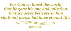 JOHN 3:16 RELIGIOUS WALL DECAL IN GOLD
