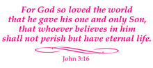 Load image into Gallery viewer, JOHN 3:16 RELIGIOUS WALL DECAL IN HOT PINK