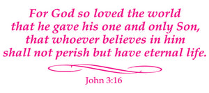 JOHN 3:16 RELIGIOUS WALL DECAL IN HOT PINK