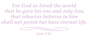 JOHN 3:16 RELIGIOUS WALL DECAL IN LAVENDER