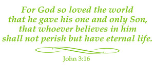 JOHN 3:16 RELIGIOUS WALL DECAL IN LIME GREEN