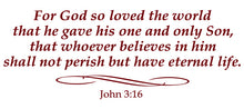 Load image into Gallery viewer, JOHN 3:16 RELIGIOUS WALL DECAL IN MAROON