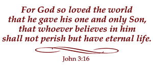 JOHN 3:16 RELIGIOUS WALL DECAL IN MAROON