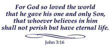 Load image into Gallery viewer, JOHN 3:16 RELIGIOUS WALL DECAL IN NAVY BLUE