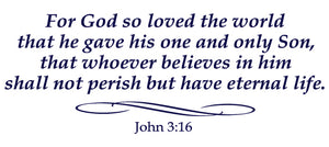JOHN 3:16 RELIGIOUS WALL DECAL IN NAVY BLUE