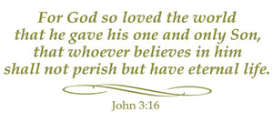 JOHN 3:16 RELIGIOUS WALL DECAL IN OLIVE GREEN