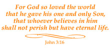 Load image into Gallery viewer, JOHN 3:16 RELIGIOUS WALL DECAL IN ORANGE