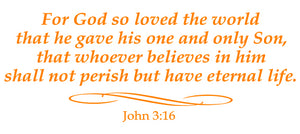 JOHN 3:16 RELIGIOUS WALL DECAL IN ORANGE