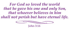 Load image into Gallery viewer, JOHN 3:16 RELIGIOUS WALL DECAL IN PURPLE