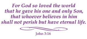 JOHN 3:16 RELIGIOUS WALL DECAL IN PURPLE